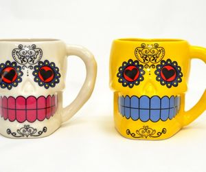 Set of 2 Day of the Dead Dia De Los Muertos Yellow White Sugar Skull Coffee Mugs, an item from the 'Dia de los Muertos ' hand-picked list