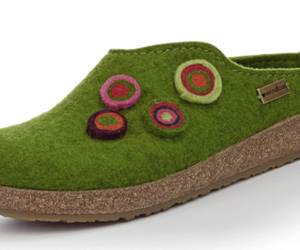 HAFLINGER GZL Grizzly Kanon Chloe Grasgrun Green  cork wool Slipper EU 35, an item from the 'All Things Cozy' hand-picked list