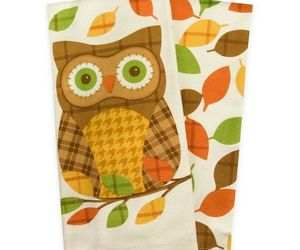 """Thanksgiving Plaid Owl Dish Kitchen Towels Set of 2 100% Cotton 16x26"""" Fall , an item from the 'Owl Aboard!' hand-picked list"""