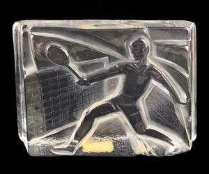 Vintage 1982 Vinardi Crystal Paperweight Tennis Player Frosted Glass Signed, an item from the 'Community Picks: Tennis Anyone?' hand-picked list