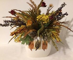 Fall Autumn Silk Flower Arrangement in Ceramic Vase Thanksgiving Centerpiece TS7, an item from the 'Fall Table Decor' hand-picked list