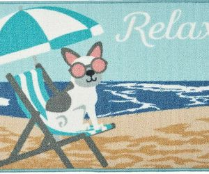 """KITCHEN ACCENT RUG (nonskid back)(17"""" x 28"""") DOG ON THE BEACH CHAIR, RELAX, EE, an item from the 'Community Picks: Dog Days of Summer' hand-picked list"""
