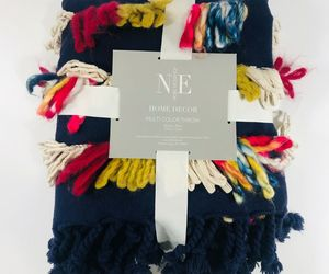 """Multi Color Fringed Throw Blanket 50"""" X 70"""" Blue Holiday Gift Noble Excellence, an item from the 'Quilts and Throws' hand-picked list"""