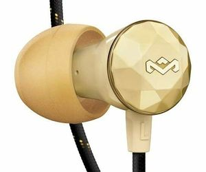 House of Marley Nesta Headphones Noise Cancelling Earbuds with a Microphone Gold, an item from the 'Travel Must-Haves' hand-picked list