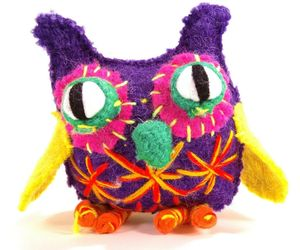 Bright Colorful Owl Figure Uzbekistan Stuffed Figurine Boiled Wool Funny Playful, an item from the 'Owl Aboard!' hand-picked list