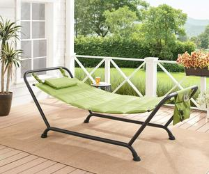 Mainstays Belden Park Quilted Hammock with Stand and Pillow for Outdoor Patio,Gr, an item from the 'Summer Outdoor Furniture' hand-picked list