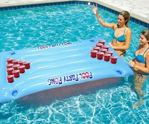 Inflatable Beer Pong Float Summer Water Party Table Pool Game Fun Beer Pong Game, an item from the 'Summer Party' hand-picked list
