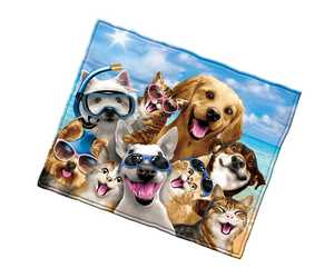Dogs And Cats Beach Party Selfie Super Soft Plush Fleece Throw Blanket, an item from the 'Community Picks: Dog Days of Summer' hand-picked list