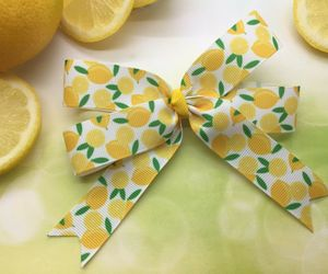 Lemon Hair Bow Clip, Hairbow, Lemons Ribbon, Handmade Boutique Bows for Girls, an item from the 'Playing with hair' hand-picked list