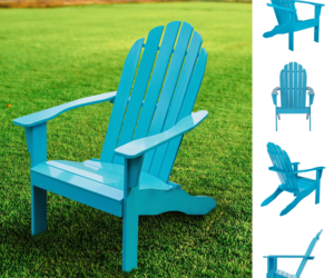 Mainstays Wooden Outdoor Adirondack Chair Solid Hardwood Turquoise Finish NEW, an item from the 'Summer Outdoor Furniture' hand-picked list