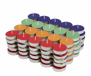 Colored Wax Tealight Candles Lights For Diwali Deepawali (Set of 100, Unscented), an item from the 'Happy Diwali' hand-picked list