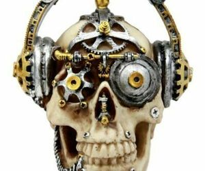 "Steampunk Cyborg R&B Funk Music Fanatic With Headphone Skull Figurine 5.75""L, an item from the 'Skulduggery' hand-picked list"