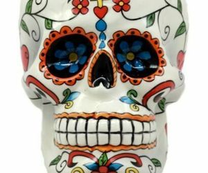 """Ebros Day of The Dead Crucifix Sugar Skull Mug Drink Coffee Cup Ceramic 4.5""""H, an item from the 'Skulduggery' hand-picked list"""
