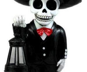 Day Of The Dead Skeleton Mariachi Singer Statue With Solar Powered Lantern LED, an item from the 'Dia de los Muertos ' hand-picked list