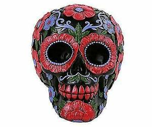 """Ebros Black Day of The Dead Floral Blooms Sugar Skull Figurine DOD Skulls 6"""" L, an item from the 'Skulduggery' hand-picked list"""