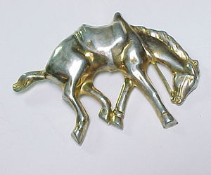 HORSE Vintage STERLING BROOCH Pin - Raised Dimensional Design - 3.25 inches, an item from the 'Community Picks: Horsin' Around' hand-picked list