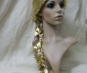 Fancy Child Rapunzel Wig Long Braid w/ Flower Trim Fairytale Princess Tangled, an item from the 'Costume Accessories' hand-picked list