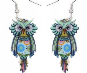 Boho Funky Owl Earrings- Boho Nature Lover, Bird, Flat Lightweight Acrylic, New, an item from the 'Owl Aboard!' hand-picked list