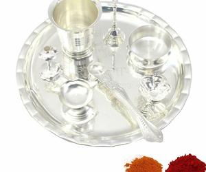 Pooja Thali Set 08 Inch for Festival Ethnic Puja Thali for Diwali, Home, Temple,, an item from the 'Happy Diwali' hand-picked list