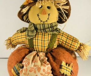 """Scarecrow in Pumpkin Harvest Table Top Decor Autumn Fall Cloth 12"""" Tall, an item from the 'Fall Table Decor' hand-picked list"""