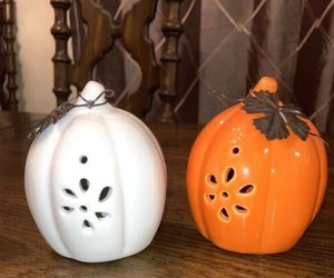 PUMPKINS Orange and White  set of 2 HALLOWEEN 4 inches tall FALL DECOR, an item from the 'Pumpkin Patch' hand-picked list