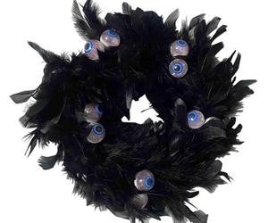 Wreath Black Natural Cocktail Feather, Wreath with Eye, Halloween Decorations, an item from the 'Spooky Home Decor' hand-picked list