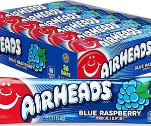 Airheads Candy, Individually Wrapped Full Size Bars, Blue, an item from the 'Halloween Treats' hand-picked list