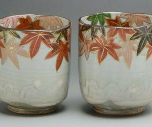 Kyo Kiyomizu Yaki ware Kyoto Autumn Leaves Pair Yunomi Green Tea cup Japan, an item from the 'Autumn Spirit' hand-picked list