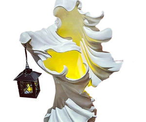 Hell's Messenger Lantern Faceless Ghost Halloween Statue Decor Light Ornament, an item from the 'Spooky Home Decor' hand-picked list