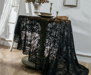 Round White Black Flower Lace Embroidery Tablecloth Halloween Party Decor Cover, an item from the 'Spooky Home Decor' hand-picked list