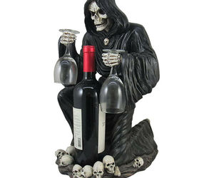 """3pc Black Grim Reaper Decorative Wine Bottle Holder Halloween Gothic Decor 18"""", an item from the 'Spooky Home Decor' hand-picked list"""