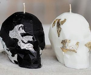 Skull Candle  gothic home Decor  skull Decor Halloween Decor  Black White Hal, an item from the 'Spooky Home Decor' hand-picked list