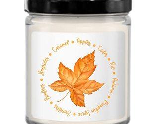 Fall Candle, Autumn Themed Decor, Cozy, Cute Minimalist Idea for Neighbor, Hoste, an item from the 'Autumn Spirit' hand-picked list