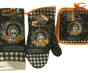Spooktacular Halloween Kitchen Decor 2 Pot Holders 1 Oven Mitt 1 Towel, an item from the 'Spooky Home Decor' hand-picked list