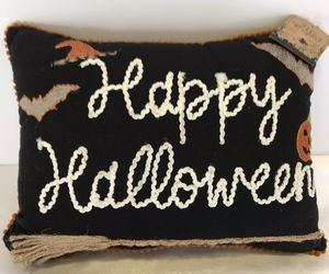 Happy Halloween Bats Broom Pumpkins Throw Pillow Spooky Holiday Home Decor NEW, an item from the 'Spooky Home Decor' hand-picked list