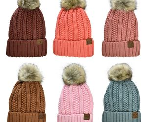 C.C Beanie Pastel Thick Cable Knit Faux Fuzzy Fur Pom Fleece Lined Cuffed Cap , an item from the 'All Things Cozy' hand-picked list