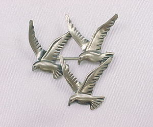 THREE BIRD Vintage BROOCH Pin - BEAU STERLING, an item from the 'Birds of a Feather....' hand-picked list