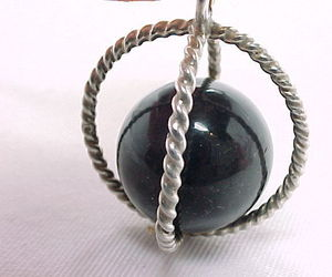 3D STERLING Vintage SPHERE PENDANT with BLACK ONYX Ball -1 3/8 inches -FREE SHIP, an item from the 'Unique Handmade & Handcrafted Jewelry' hand-picked list