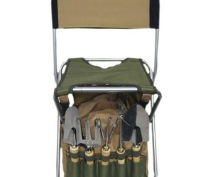 Outdoor Gardening Tools Set Foldaway Stool Backrest Detachable Tote 9 Piece Kit, an item from the 'Garden Tools' hand-picked list
