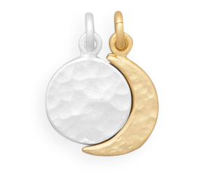 Sterling Silver Full Moon and Gold Plated Crescent Moon Charm Set, an item from the 'Geometrically Speaking..' hand-picked list