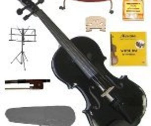 Merano 1/2 Black Violin,Case,Bow,Strings,Rosin,Bridges,Tuner,Shoulder Rest,Stand, an item from the 'Music Lessons' hand-picked list