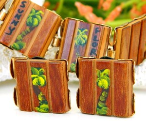 Vintage Wood Bracelet Earrings Set Florida Souvenir Palm Trees Painted, an item from the 'Unique Handmade & Handcrafted Jewelry' hand-picked list