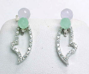 LAVENDER and GREEN JADE Drop EARRINGS with removable CZ Dangle in STERLING , an item from the 'MINT CONDITION ' hand-picked list