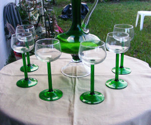 Vintage Handblown Green/Clear Glass Pitcher with Matching Glasses, an item from the 'I'm Blown Away..' hand-picked list