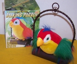 Vintage Tattle Talk Talking Parrot Moves & Repeats What You Say, an item from the 'Birds of a Feather....' hand-picked list