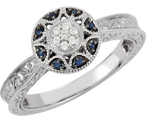 14K White Gold Filgree Design Sapphire & Diamond Halo Victorian Engagement Ring, an item from the 'The Sweetest Ring' hand-picked list