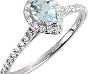 14K White Gold Pear Diamond and Blue Aquamarine Halo Ring Engagement Ring, an item from the 'The Sweetest Ring' hand-picked list