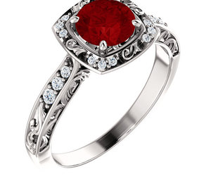 Antique Halo Diamond & Ruby 14K White, Rose or Yellow Gold Engagement Ring , an item from the 'The Sweetest Ring' hand-picked list