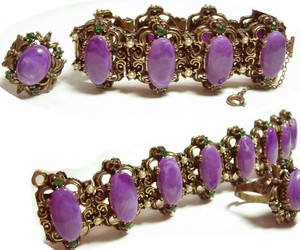 VIntage bracelet & ring Suffragette purple cabachon fancy medieval, an item from the 'Purple Passion' hand-picked list