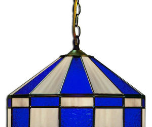 "BLUE & GRAY 16"" STAINED GLASS HANGING PUB LIGHT FIXTURE BAR PUB TABLE LAMP, an item from the 'Let There Be Light!' hand-picked list"